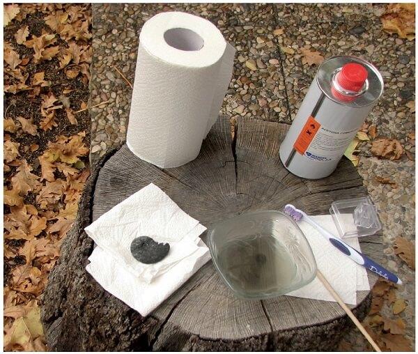 Limpieza de fósiles piritizados con acetona