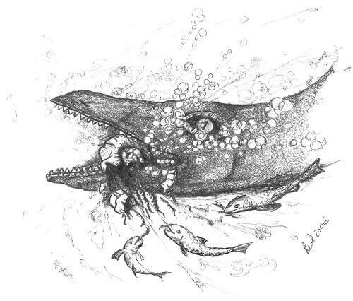 Depredación sobre ammonites: un reptil devorando un ammonite