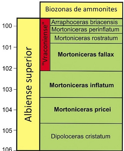 Zonación del Albiense superior basada en en género Mortoniceras